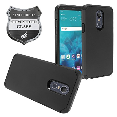 Z-GEN - LG Stylo 4 (2018), Stylo4+ Plus, LM-Q710, LM-L713DL - Rubberized Hybrid Phone Case + Tempered Glass Screen Protector - AH2 Black