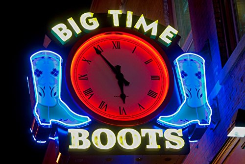 (Posterazzi Poster Print Collection Big Time Boots Neon Sign Lower Broadway Nashville Tennessee Panoramic Images, (24 x 18), Multicolored)
