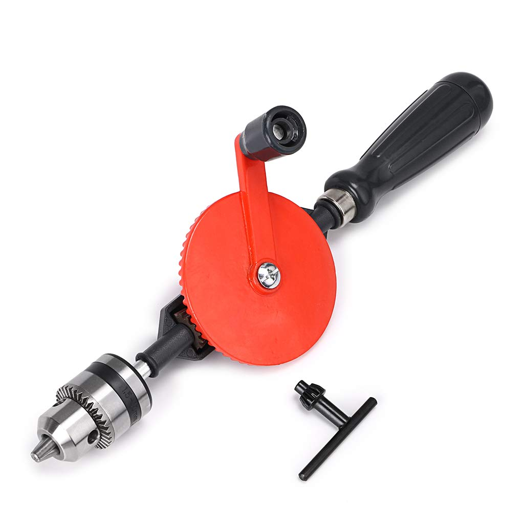 Skelang Hand Drill 3/8-Inch Capacity Powerful and Speedy Manual Hand Drill with Finely Cast Steel Double Pinions Design, 3 Jaw Chucks and ABS Anti Slip Handle by Skelang (Image #1)