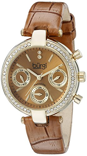 (Burgi Women's BUR129TN Diamond & Crystal Accented Multifunction Yellow Gold and Light Brown Leather Strap Watch)
