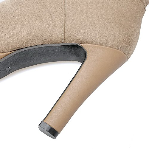 Closed High Women's Zipper Toe High Khaki Boots Imitated top Heels AmoonyFashion Round Suede XBawnq1dx