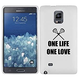 Samsung Galaxy Note Edge Snap On 2 Piece Rubber Hard Case Cover One Life One Love Lacrosse (White)