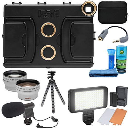 Melamount MM-IPAD PRO 9.7 Video Stabilizer Pro Multimedia Rig for Apple iPad PRO 9.7 with LED Video Light + Microphone + Tripod + + Tele/Wide Lens Kit ()