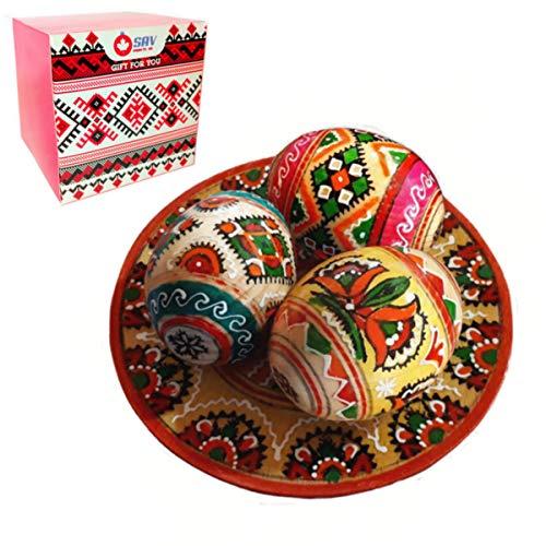 SAV Christmas Vintage Gift Set 3 Hand Painted 2,5'' Wooden Polish Ukrainian Geometry Ornament Easter Eggs (Pysanky) On Plate (Mysterious Box) (Orthodox Ukraine Christmas)