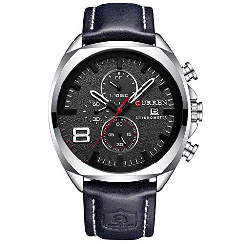 Chronograph Pocket Timepiece - WUAI New Men's Fashion Casual Business Watches Large Dial Leather Band Chronograph Watch