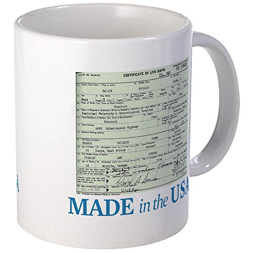 CafePress Barack Obama Made In The USA Birth Certificate Mug Unique Coffee Mug, Coffee Cup