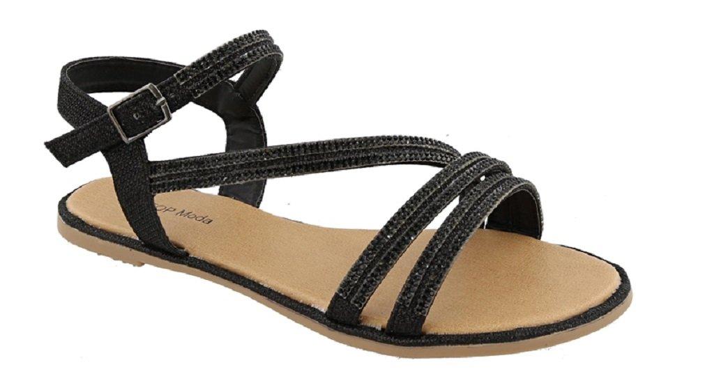 Top Moda LEIANA-1 Women's Ankle Strap Flat Sandal with Rhinestones (8, Black)