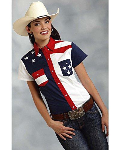 Roper Women's Americana Pieced Color Block Top, Blue, XL