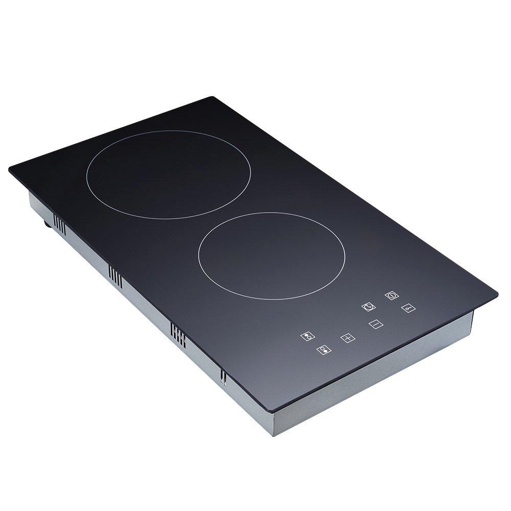 Cocina de inducción , Cocina eléctrica integrada de 2 Fuegos con Control táctil del Sensor, Negro