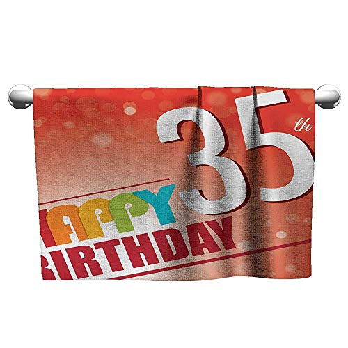 xixiBO Personalized Towel W14 x L14 35th Birthday,Retro Style Party Invitation with Colorful Lettering on Bokeh Effect Backdrop,Multicolor Beach Towel]()