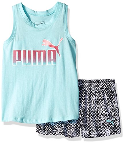- PUMA Little Girls' 2 Piece Tank & Mesh Shorts Set, Island Paradise, 5