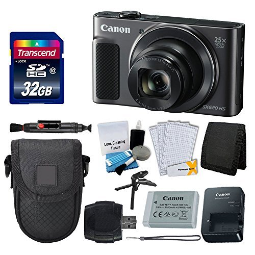 Canon PowerShot SX620 HS Digital Camera (Black) + Transcend 32GB Memory Card + Point & Shoot Camera Case + Card Reader + Card Wallet + LCD Screen Protectors + 5 Piece Cleaning Kit + Complete Bundle