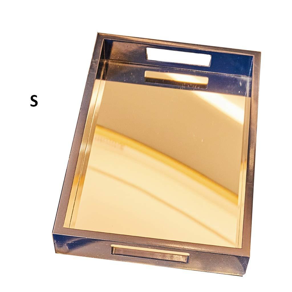 木製パレット家庭用ティートレーパントレイボトムミラーモダンシンプル2サイズ (サイズ さいず : M) B07L3TSQKQ  Medium