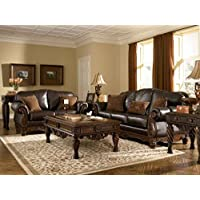 Ashley North Shore 2260338 95 Stationary Sofa with Top-Grain Leather Upholstery 3 Pillows Included Carved Details and Rolled Arns in Dark