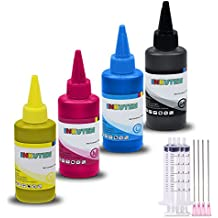 4 Colors (4 x 100ml) - INKUTEN Refill Dye Ink Kit for HP 564 564XL Ink Cartridges, Refillables, CISS with syringes Black, Cyan, Magenta, Yellow Ink
