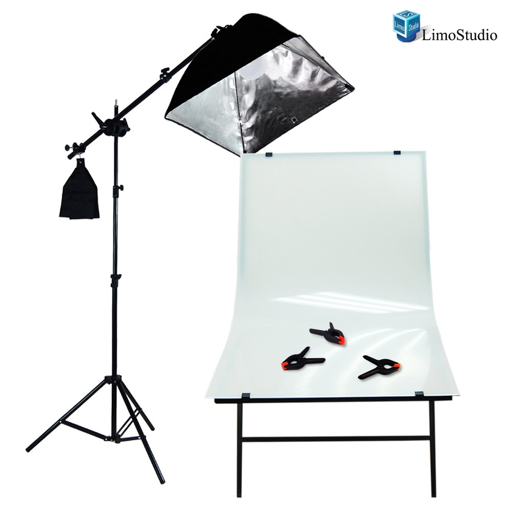LimoStudio Photography Photo Studio Foldable Photo Shooting Table, Background Clamps with Boom Stand Softbox Continuous Lighting Kit , AGG1477V2