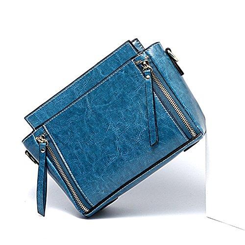 De blue Bolso Acolchado Moda Mujer Cruzado del Aceite De Bolso del De Cera La Bolso FONKIC Brown pzva4H