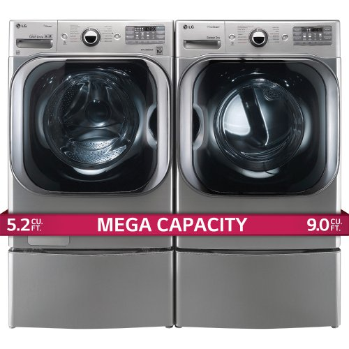 LG Titan Laundry Pair - MEGA CAPACITY - *Graphite Steel* Washer, GAS Dryer and Pedestal Package! WM8000HVA, DLGX8001V WDP5V (2)