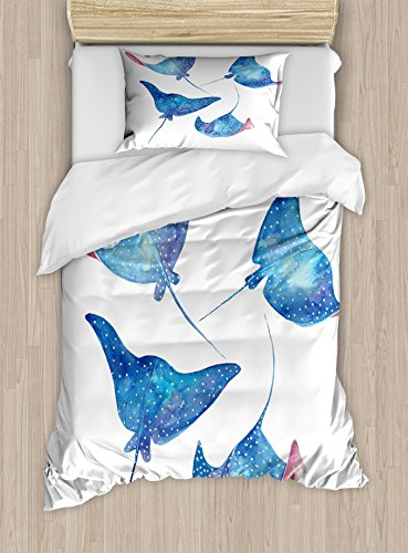 Lunarable Underwater Twin Size Duvet Cover Set, Sting Ray in Watercolor Style Animal Drawing with Brush Strokes Wildlife, Decorative 2 Piece Bedding Set with 1 Pillow Sham, Blue White Pink by Lunarable