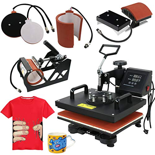 "ZENY 5 in 1 Heat Press Machine Pro 12"" x 15"" Swing Away Multifunctional Digital Transfer Sublimation Hat Plate Cap Heat Press Machine for T-Shirt"