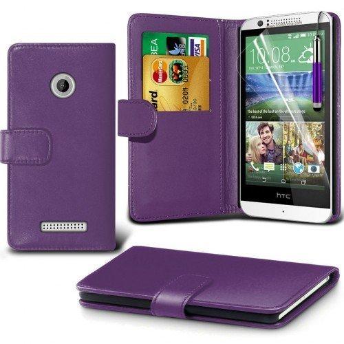 HTC Desire 510 Cubierta del caso con cuero (Púrpura) Plus de regalo libre, Protector de pantalla y un lápiz óptico, Solicitar ahora mejor caja del teléfono Valorado en Amazon! By FinestPhoneCases