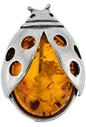 Sterling Silver Lady Bird Russian Baltic Amber Brooch Pin, 1 inch wide