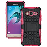 Heartly Flip Kick Stand Spider Hard Dual Rugged Shock Proof Tough Hybrid Armor Bumper Back Case Cover For Samsung Galaxy J3 (2016) - Cute Pink