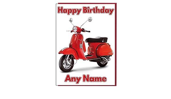 Vespa Scooter personalizado tarjeta de cumpleaños - cualquier nombre y edad: Amazon.es: Hogar