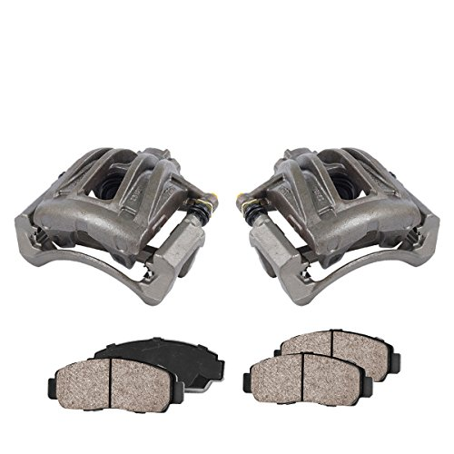CCK01068 [2] FRONT Premium Loaded OE Caliper Assembly Set + Quiet Low Dust Ceramic Brake Pads
