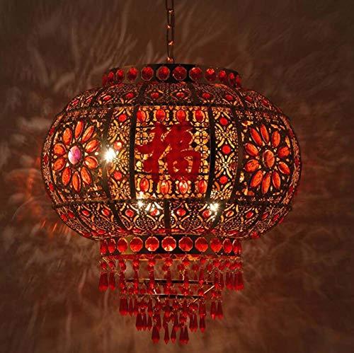 Mamrar Red Rotating Lanterns Chinese Style Festive Hollow Pendant Lamp Balcony Corridor Hanging Line Light,400Mm
