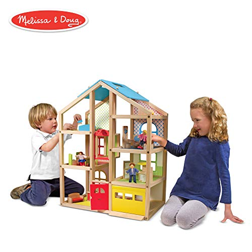 Melissa & Doug Hi-Rise Wooden Dollhouse and Furniture Set (1:12 Scale Dollhouse, Open-Sided, Multi-Color, 18 Pieces, 30″ H × 23.75″ W × 13″ L)