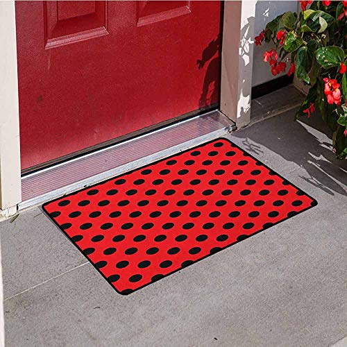 Gloria Johnson Red and Black Front Door mat Carpet Retro Vintage Pop Art Theme Old 60s 50s Rocker Inspired Bold Polka Dots Image Machine Washable Door mat W31.5 x L47.2 Inch Scarlet -