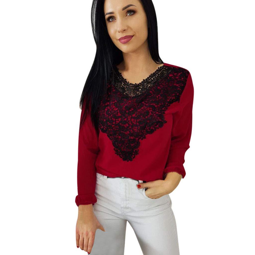 CUCUHAM Womens Fashion Lace Long Sleeve Casual Shirt Blouse