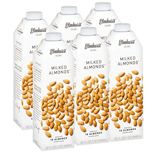 Almond Milk Ingredients - Elmhurst 6pk Milked Almonds 32 oz. Creamy & Delicious Almond Milk. More Nuts! More Nutrition! Gluten Free, Lactose Free, Vegan Beverage.