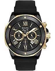 Bulova Mens Quartz Stainless Steel and Silicone Casual Watch, Color:Black (Model: 98B278)