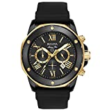 Bulova Men's Quartz Stainless Steel and Silicone Casual Watch, Color:Black (Model: 98B278)