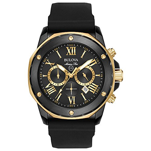 Bulova Men's Quartz Stainless Steel and Silicone Casual Watch, Color:Black (Model: 98B278) (Star Bulova Collection Marine)