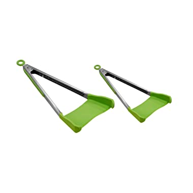 Allstar Innovations Clever Tongs 2 In 1 Kitchen Spatula Non-Stick, Heat Resistant, Stainless Steel Frame, Silicone & Dishwasher Safe, As Seen on TV, 2 Pack (Includes 1 Large & 1 Small)
