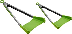 Clever Tongs 2 In 1 Kitchen Spatula & Tongs Non-Stick, Heat Resistant, Stainless Steel Frame, Silicone & Dishwasher Safe, As Seen on TV, 4 Pack (Includes 2 Large & 2 Small), Green