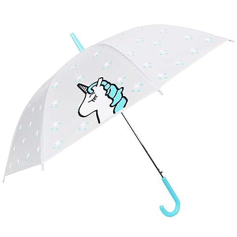 Paraguas Unicornio - Paraguas Transparente de Unicornio - a Prueba de Viento y a Prueba de Lluvia