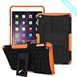 LIKESEA Tread Pattern Case for Apple iPad Mini 4, Premium Stand Cases Double Protective Cover with Kickstand, Shock-Absorption and Anti-Scratch, Orange