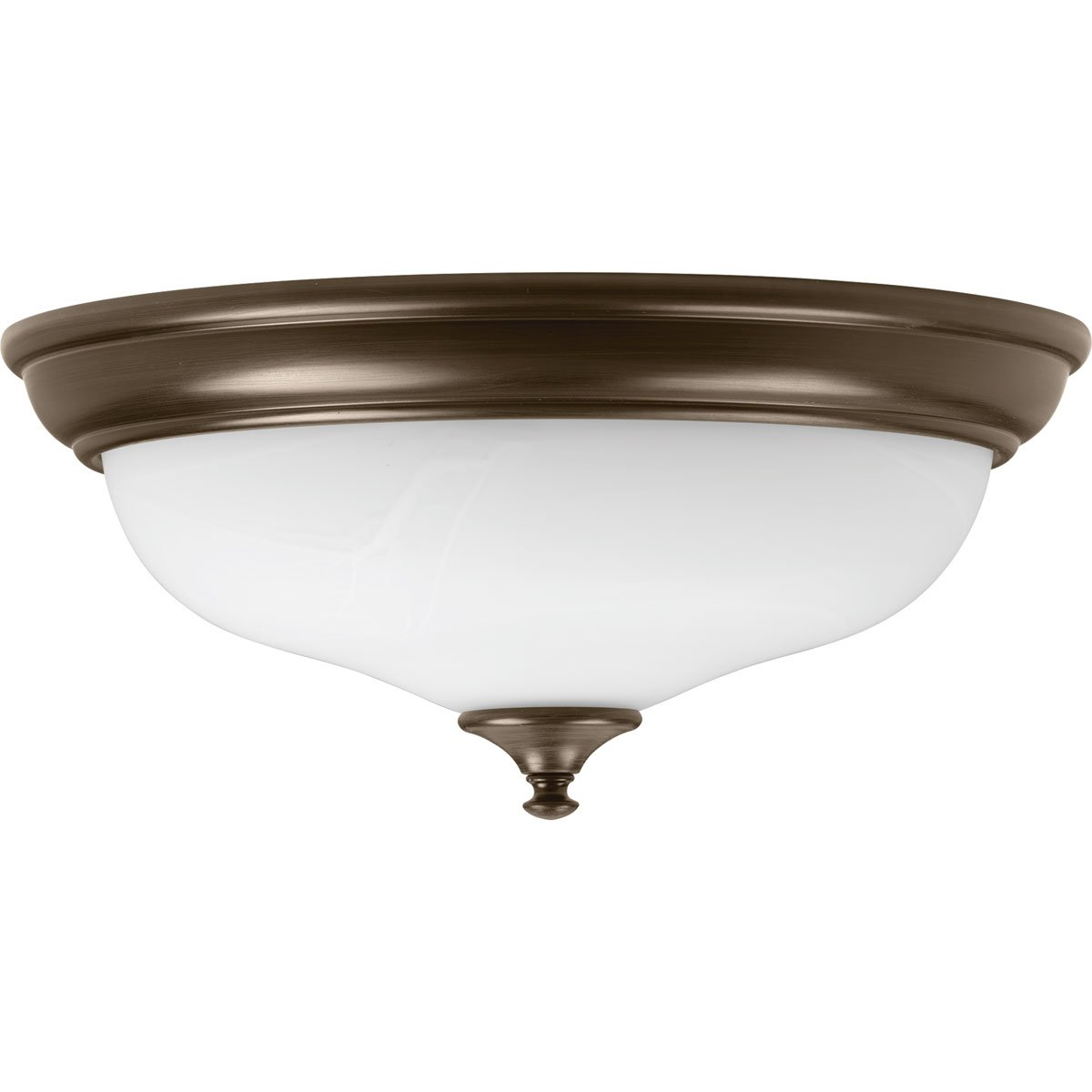 Antique Bronze Progress Lighting P350003-020-30 Alabaster One-Light DC LED Flush Mount