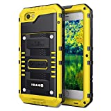 Mitywah Waterproof Case for iPhone 6, iPhone 6s Heavy Duty Military Grade Armor Metal Case, Full Body Protective Shockproof Dustproof Strong Rugged Thick Case for iPhone 6 / 6s, Yellow