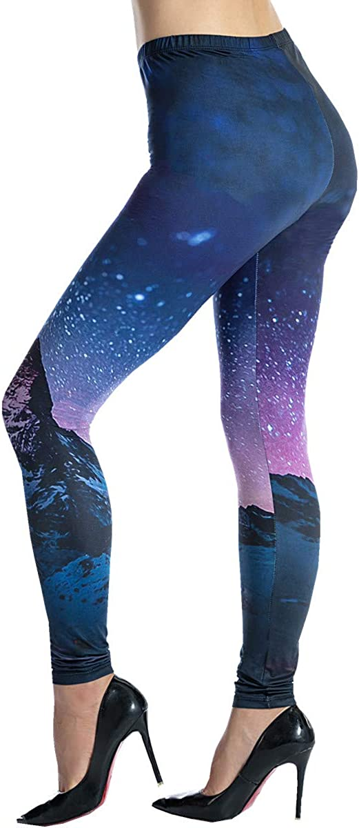 Ndoobiy Womens Printed Leggings Full-Length Regular Size Workout Legging Pants Soft Capri L1