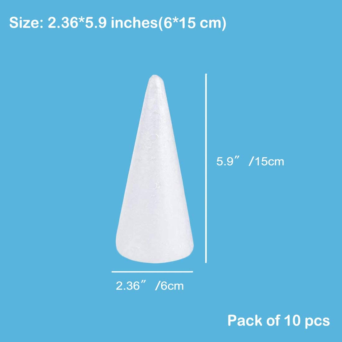 Christmas Tree White Polystyrene Foam 12- Pack Cone Shaped Foam for DIY Home Craft Project Table Centerpiece ACTENLY Craft Foam Cone 3 x 7.3 x 3 Inches