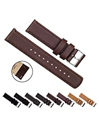 BARTON Quick Release Top Grain Leather - Choice of Colors & Widths (18mm, 20mm or 22mm) - Saddle Brown 18mm Watch Band