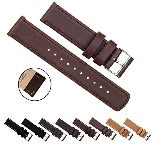 BARTON Quick Release Top Grain Leather - Choice of Colors & Widths (18mm, 20mm or 22mm) - Saddle Brown 22mm Watch Band
