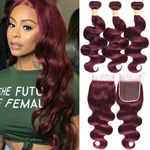 Wome Hair Brazilian 3 Bundles Curly Hair Weft With 4x4 Lace Frontal Closure Popular Burgandy Wine Red 99J Body Wave Hair Bundles (20 22 24+20, 99J)