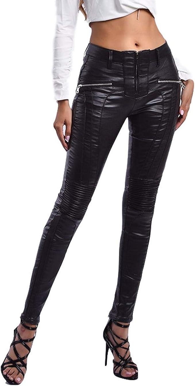 heekpek Mujeres PU Leggings Cuero Brillante Pantal/ón El/ásticos Pantalones para Mujer Skinny El/ásticos Pantalones Mujeres Leggings de Piel Mujer Moda Pantalones Largos y Delgados