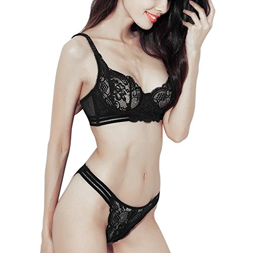 85a9a63634bdc Women s Sexy Soft Lace Lingerie Set See Through Underwear Floral Lace  Underwire Sheer Bra and Panty